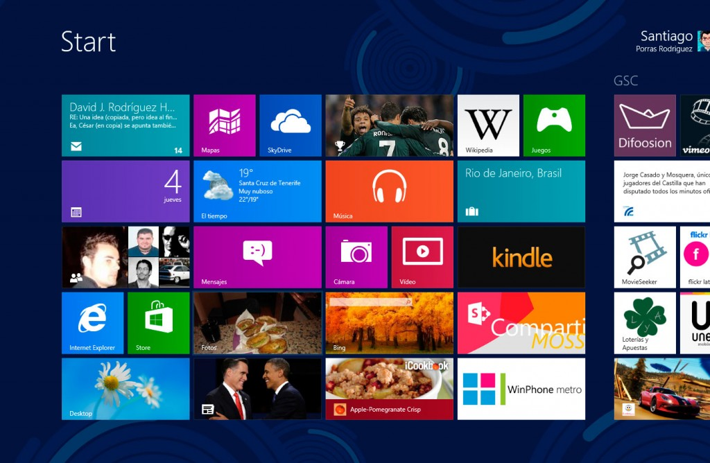 Inicio de Windows 8 con estilo Modern UI